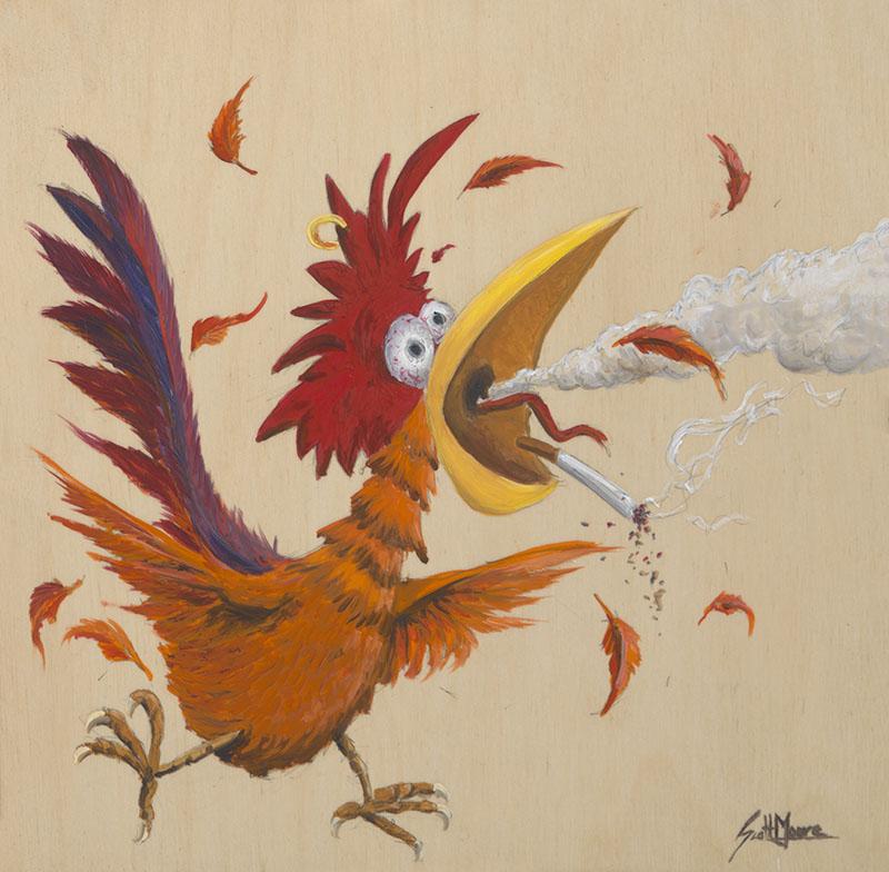 Drawnk Chicken, 8x8, Oil on Panel