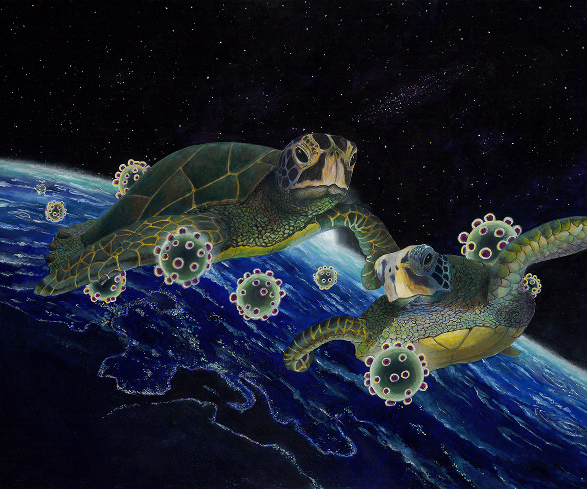 The Exodus, the animals we destroy escape the planet as we threaten them and ourselves with extinction through our reckless stewardship of the floating ball in space we call home.