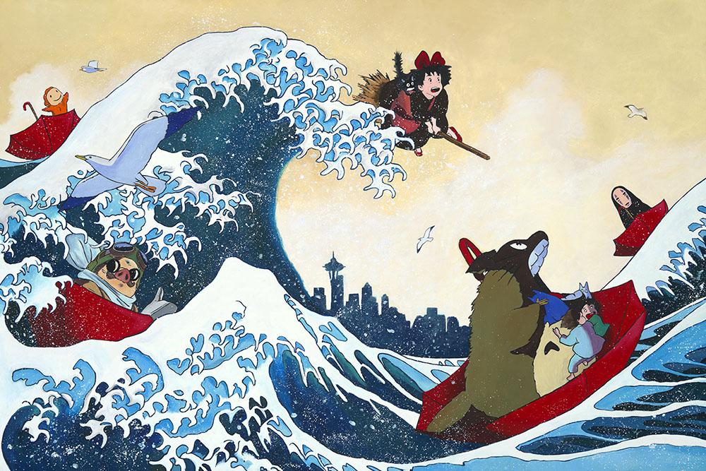 Hokusai's Great Wave, A tribute to Miyazaki and Seattle