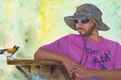 Merlin - Acrylic and Oil Paint, 15x22, from Utila, Honduras