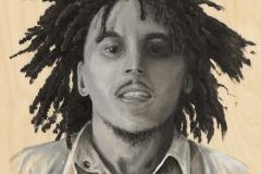 "Bob Marley, Oil on wood panel, 8""x8"""